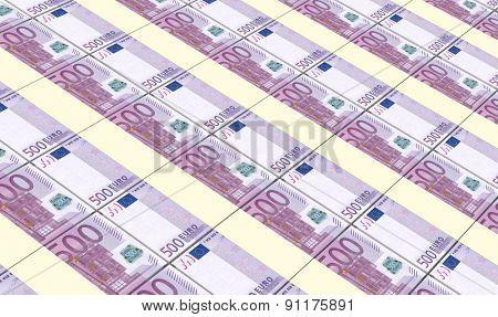 European currency bills stacks background.