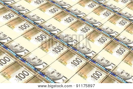 Canadian dollar bills stacks background.