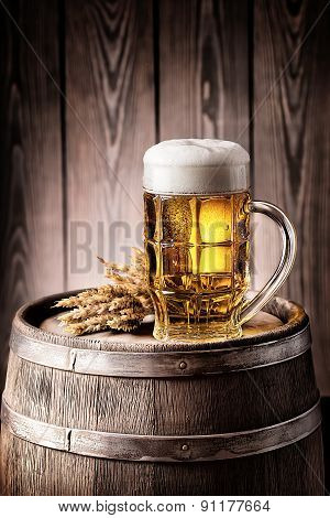 Mug of light beer with foam and spikelets