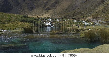 turquoise lagoon in the mountains