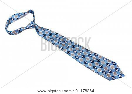 blue tie with a pattern on a white background