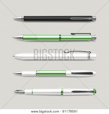 Graceful Green Pens Set