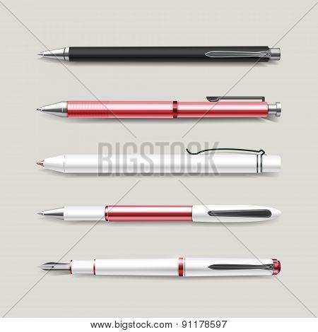 Graceful Red Pens Set