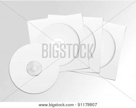 Blank White Compact Disk With Cover Set
