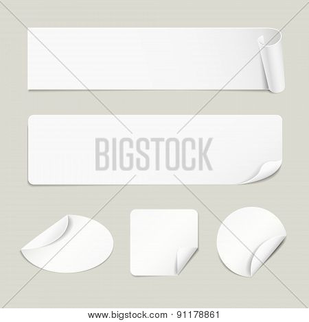 Set Of Paper White Stickers