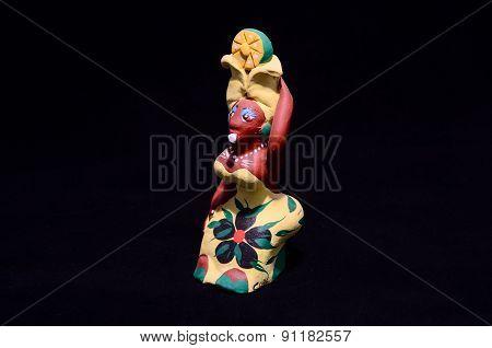 Clay Handmade Statuette of a Cuban Woman