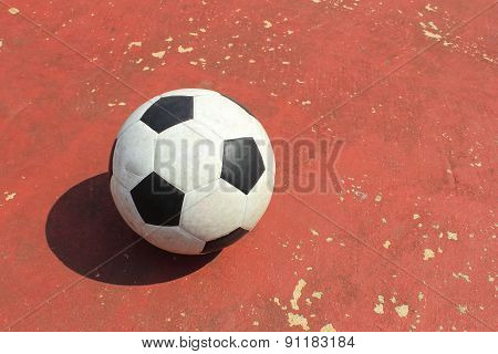 Ball on The outdoor futsal court