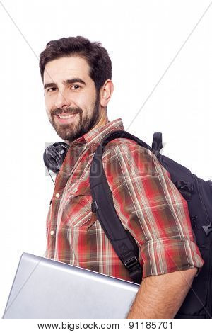 Closeup of a smiling student holding a laptop, isolated on white background