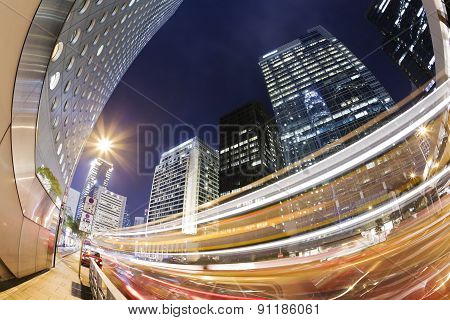 Hong Kong at night with traffic trails