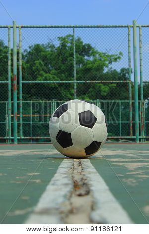 Ball On The Middle Court At Outdoor Futsal Court