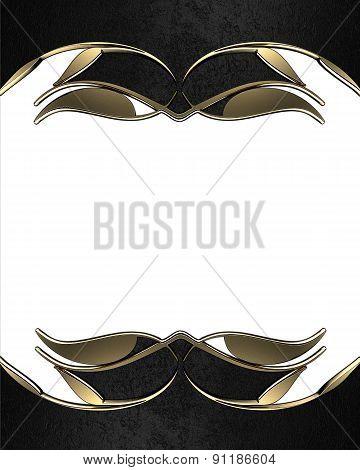 Black Frame With Gold Edges. Design Template. Design Site