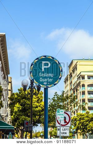 Sign Gaslamp Quarter In San Diego