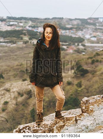 Beautiful Woman Standing Outdoor
