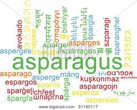 Background concept wordcloud multilanguage international many language illustration of asparagus