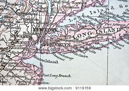 Ancient Map Of New York