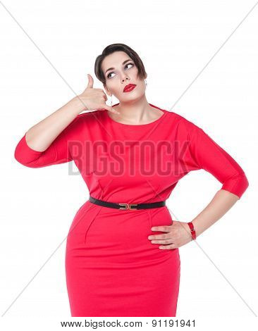 Beautiful Plus Size Woman With Call Gesture Isolated On White Background