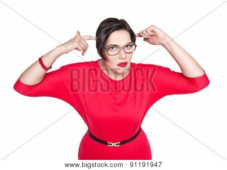 Beautiful Plus Size Woman Gesturing Fingers Against Her Temple