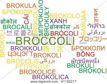 Background concept wordcloud multilanguage international many language illustration of broccoli