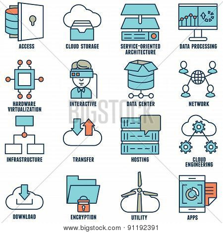 Set Of Flat Linear Cloud Computing Icons