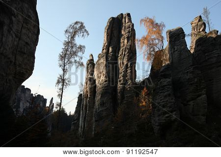 The Prachov Rocks, a rock formation at the protected natural reserve the Bohemian Paradise in Central Bohemia, Czech Republic.