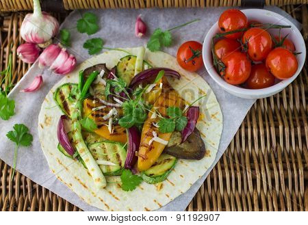 Tortilla and grilled vegetables
