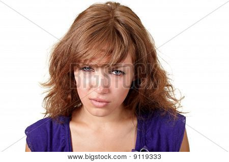 Beautiful Girl Crying Isolated Over White