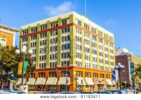 Facade Of Historic Houses In The Gaslamp Quarter In San Diego