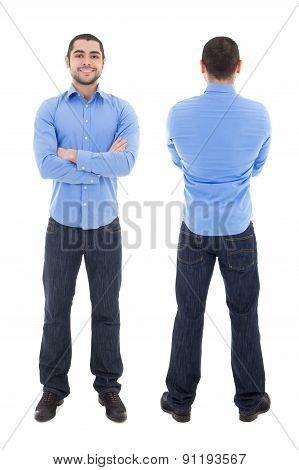 Front And Back View Of Arabic Business Man In Blue Shirt Isolated On White