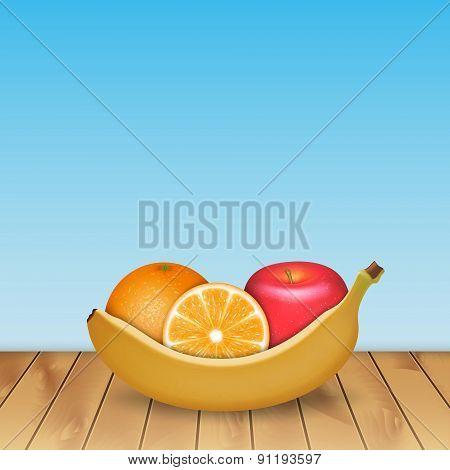 Banana, orange and apple