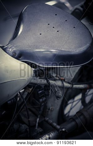 Vintage Motorcycle Saddle