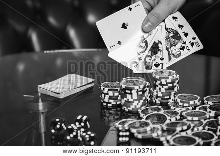 Poker cards and chips on the table