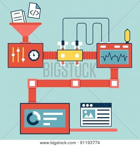 Vector Flat Linear Infographics Of Creating And Optimization Website