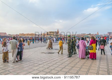 MARRAKESH, MOROCCO, APRIL 4, 2015: People gather in Jemaa el-Fnaa square