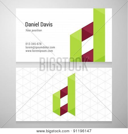 Modern Letter D Origami Business Card Template
