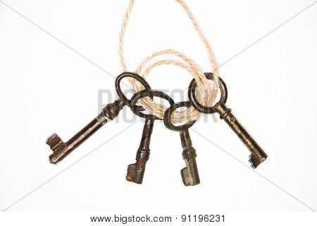 A Lot Vintage Keys From The Locks On A White Background