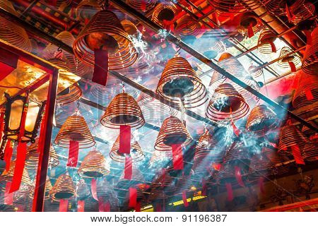 Hongkong,China-July 29,2012:hanged joss stick in hong kong buddhism temple.