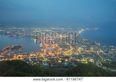 Hakodate, Hokkaido, Japan City Skyline From Mt. Hakodate At Dawn.