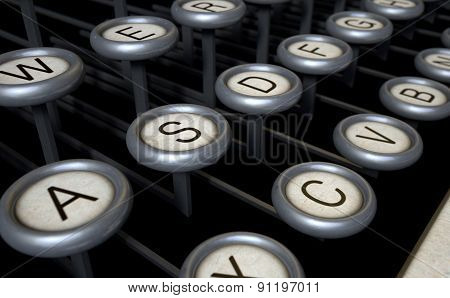 Vintage Typewriter Keys Close Up