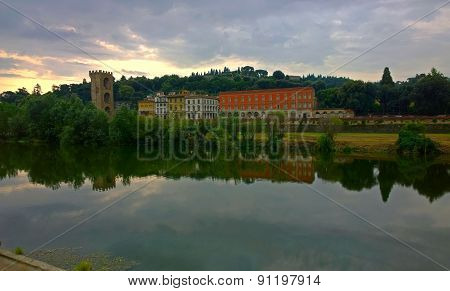 Tower of San Niccolo and Arno River in Florence