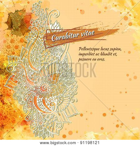 Vector template poster with watercolor paint and ink floral abstract background. Abstract Aquarelle