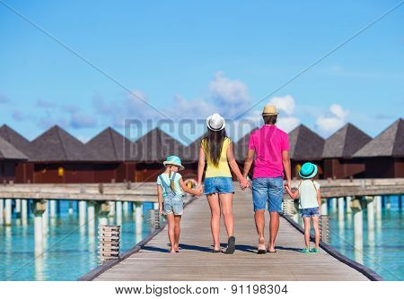 Beautiful family on summer vacation