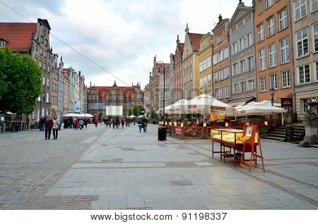 Dlugi Targ square in Gdansk, Poland.
