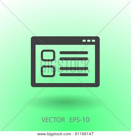 Flat long shadow Web window icon, vector illustration