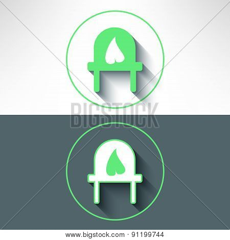 Vector electrical outlet with leaf on it made in modern flat design. Ecology and green power concept