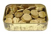 stock photo of spanish money  - Bunch of old Spanish coins in a golden box isolated on white background - JPG