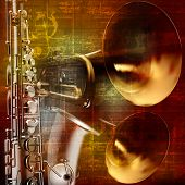 picture of saxophones  - abstract grunge vintage sound background with trumpet and saxophone - JPG