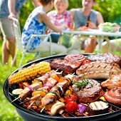 picture of barbecue grill  - Family having a barbecue party in their garden in summer - JPG