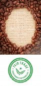 pic of oval  - Fair Trade graphic against coffee beans with oval indent for copy space - JPG