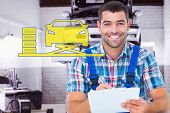 picture of auto repair shop  - Happy plumber writing on clipboard while sitting on toolbox against auto repair shop - JPG