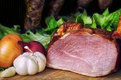 stock photo of meats  - collage of different kinds of meat smoked sausage and meat - JPG